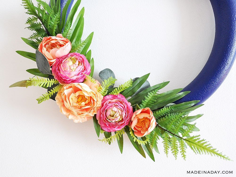 Tropical wreath, palm wreath, peony wreath