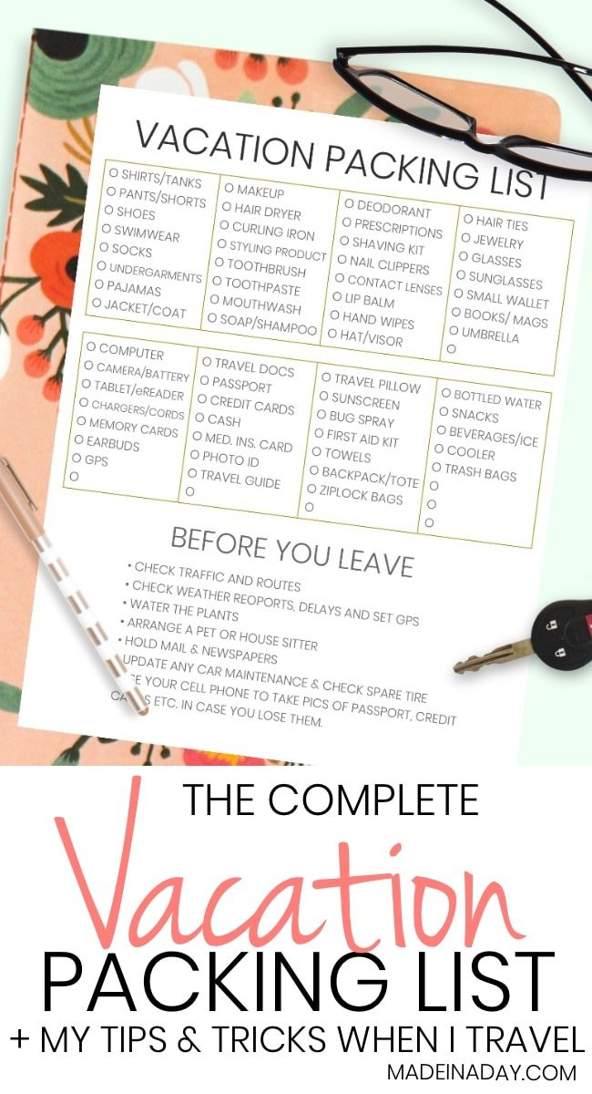 The Complete Vacation Travel Packing List Tips Printable And To Make