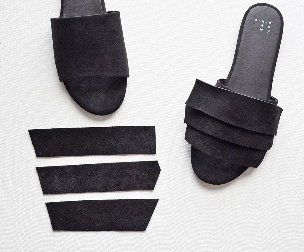 Add suede to sandals, Black Suede Slides Sandals