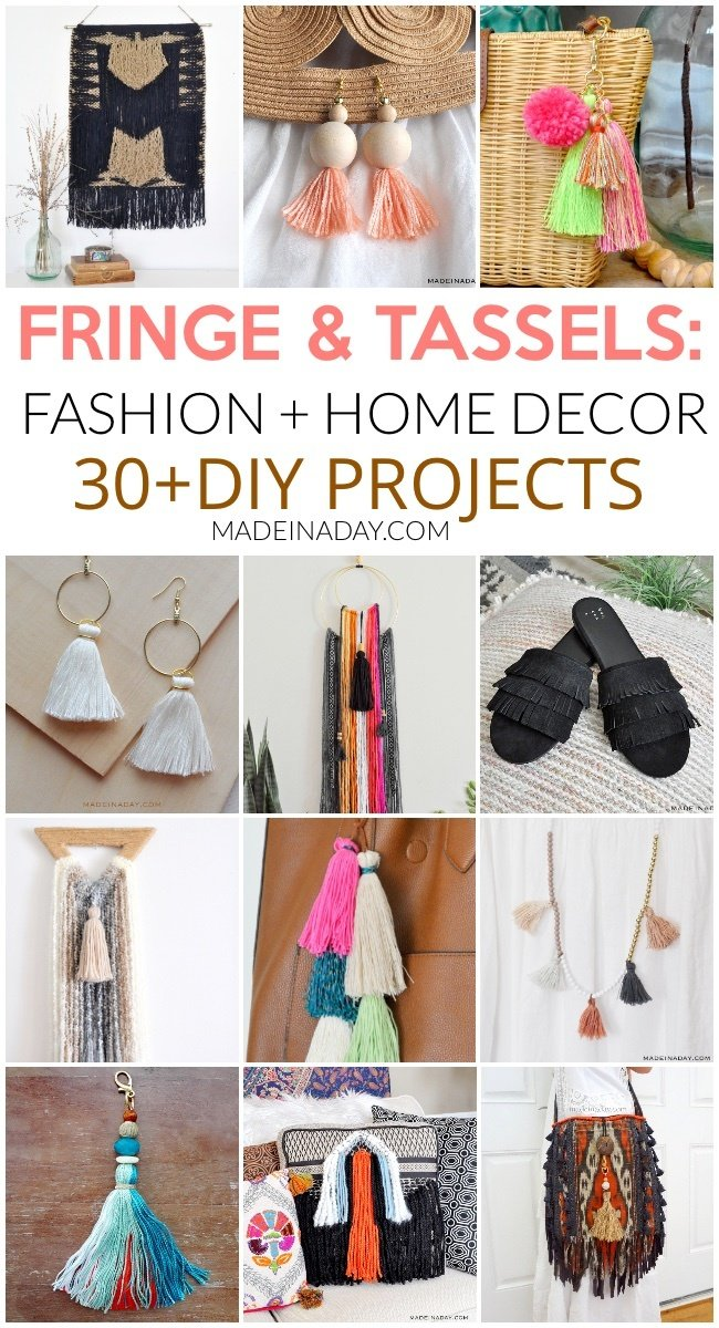 How to Make Tassels and Fringe for Jewelry and Decor, 30+ projects, how to make tassels with embroidery thread, make beaded tassels, how to make tassels for jewelry, how to tie a tassel, DIYing tassels, tassels on a scarf, DIY Embroider floss tassels, fringe sandals, fringe throw pillow, fringe wall art, boho wall art, hoop tassel earrings, fringe tapestry, tassel keychain, tassel necklace #tassle #fringe #necklace #jewelry #homedecor #DIY