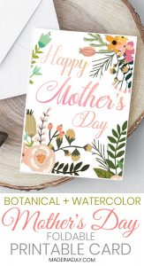 Beautiful Botanical Foldable Mother's Day Card Printable 1