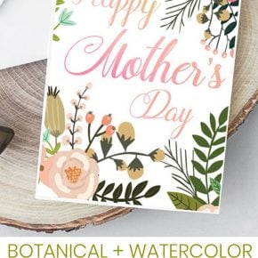 Beautiful Botanical Foldable Mother's Day Card Printable 29