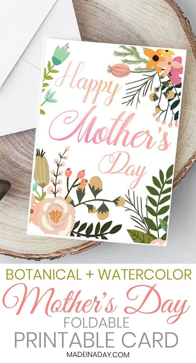 Beautiful Botanical Foldable Mother's Day Card Printable, happy Mother's Day greeting card printable, online mothers day card printable, mothers day greeting card, free mothers day cards to print, free mother's day card, #MothersDay #printable #greetingcard #freeprintable