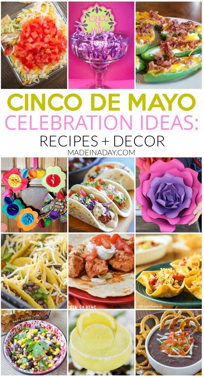 14 Cinco De Mayo Celebration Ideas: Recipes & Decor, Street tacos, jalepeno poppers, paper flowers, margarita recipes, air fryer tacos, black bean dip, balsamic southwestern dip, seven layer dip andmore! #CincoDeMayo #recipes #diprecipes #margarita