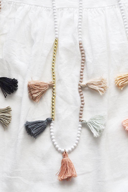 DIY White Gold Color Block Tassel Necklaces