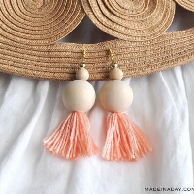 How to Make Natural Wood Bead Tassel Earrings