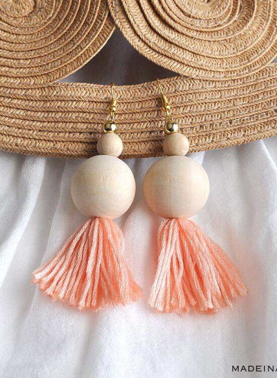 How to Make Natural Wood Bead Tassel Earrings 7