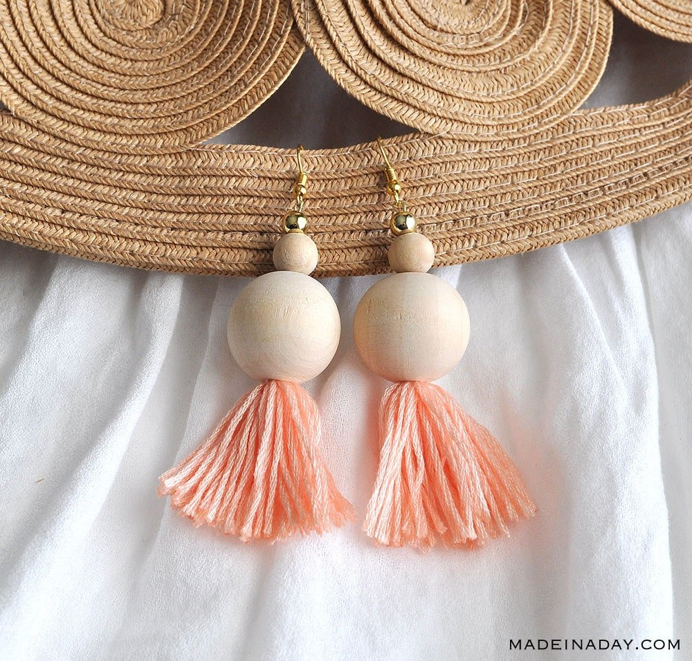 beaded tassel earrings, large wood bead tassel earring