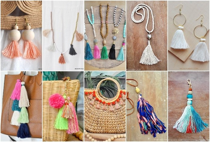 How to make leather tassel, embroidery floss tassels, suede tassel, layered tassel, tassel earrings, fabric tassel, beaded tassel necklace