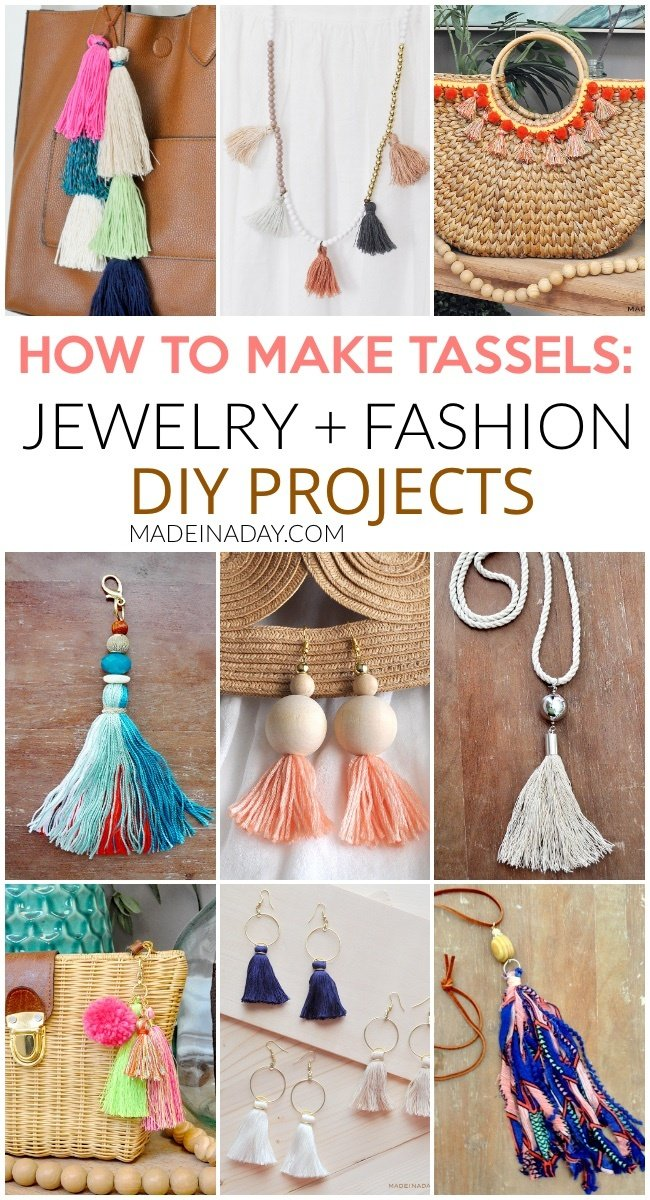 How to Make Tassels and Fringe for Jewelry and Decor, 30+ projects, how to make tassels with embroidery thread, make beaded tassels, how to make tassels for jewelry, how to tie a tassel, DIYing tassels, tassels on a scarf, DIY Embroider floss tassels, fringe throw pillow, fringe wall art, boho wall art, hoop tassel earrings, fringe tapestry, tassel keychain, tassel necklace #tassle #fringe #necklace #jewelry #DIY