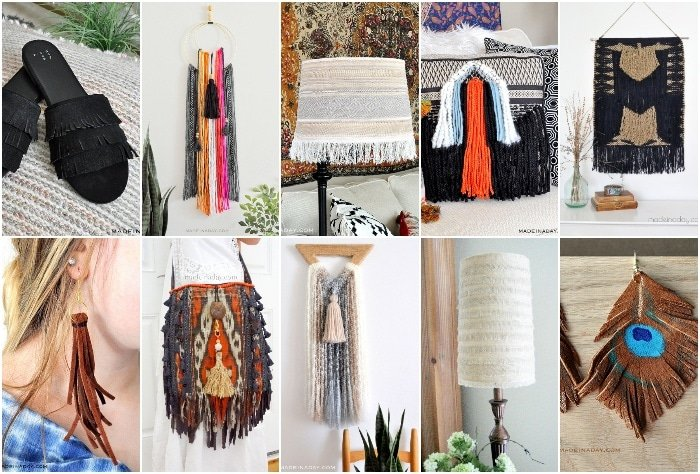How to make fringe sandals, fringe wall art, fringe throw pillow, fringe earrings, fringe tapestry, fringe earrings