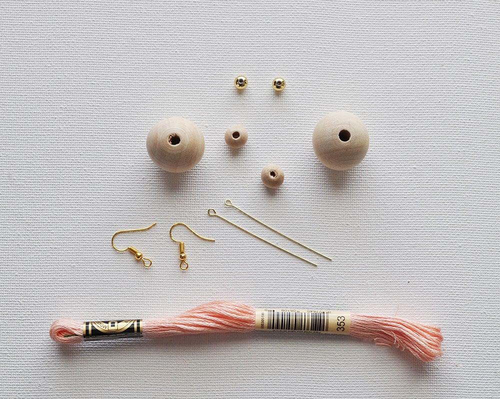 natural bead earrings, diy tassel earrings