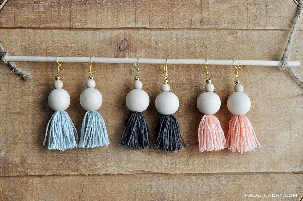 Wood Beaded Tassel Earrings, fringe earrings, diy tassel earrings, natural wood bead earring