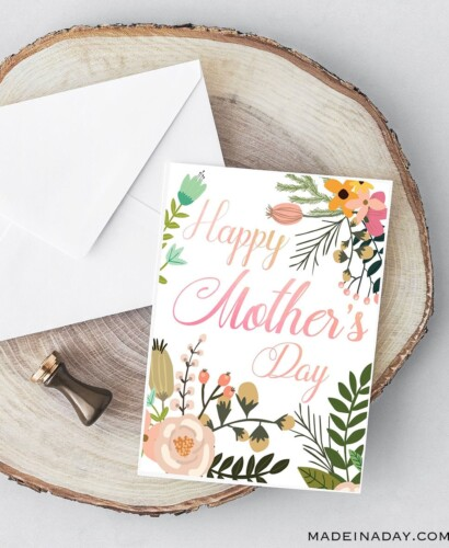 Beautiful Botanical Foldable Mother's Day Card Printable 32