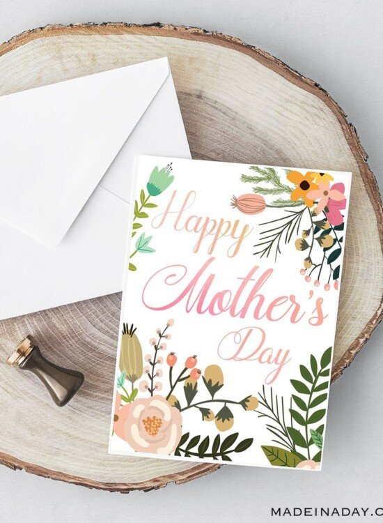 Beautiful Botanical Foldable Mother's Day Card Printable 5