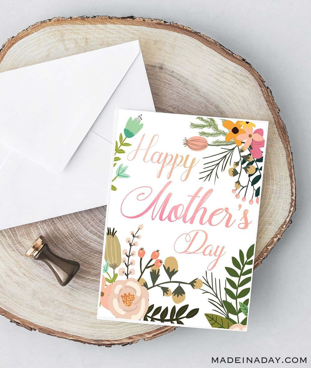 Beautiful Botanical Foldable Mother's Day Card Printable