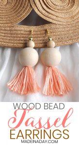 How to Make Natural Wood Bead Tassel Earrings 1