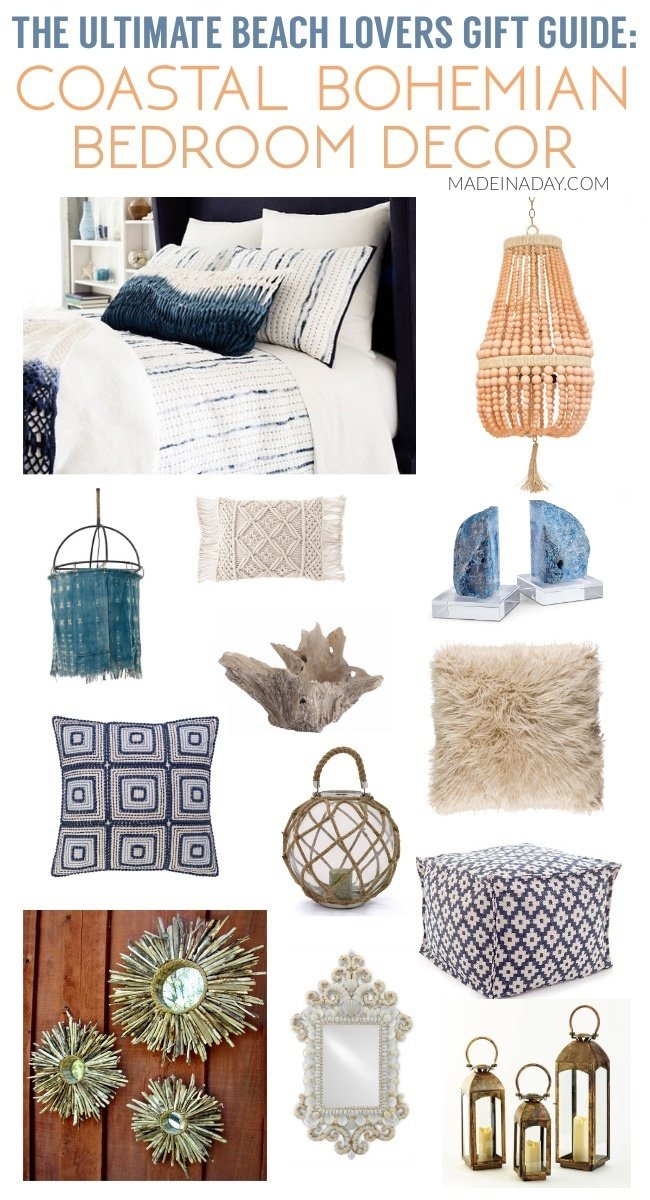 Ultimate Beach Lovers Gift Guide: Coastal Bohemian Bedroom #sponsored beaded chandelier, beachy decor, indigo blue decor, driftwood starburst mirror, Capri lanterns, ombre, bohemian bedroom, #boho #indigo #driftwood #beach #coastal #coastaldecor #beachdecor #gift #giftguide