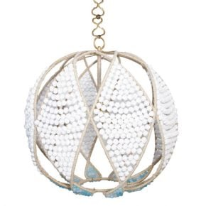 white beaded orb chandelier