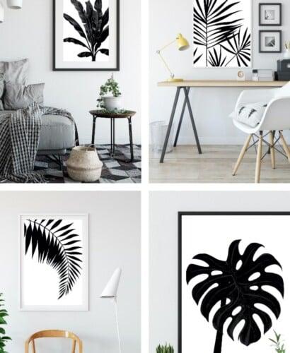 Black & White Tropical Palm Leaf Wall Art Printables 41