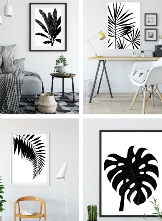 Black and White Palm Leaf Wall Art Printables 7