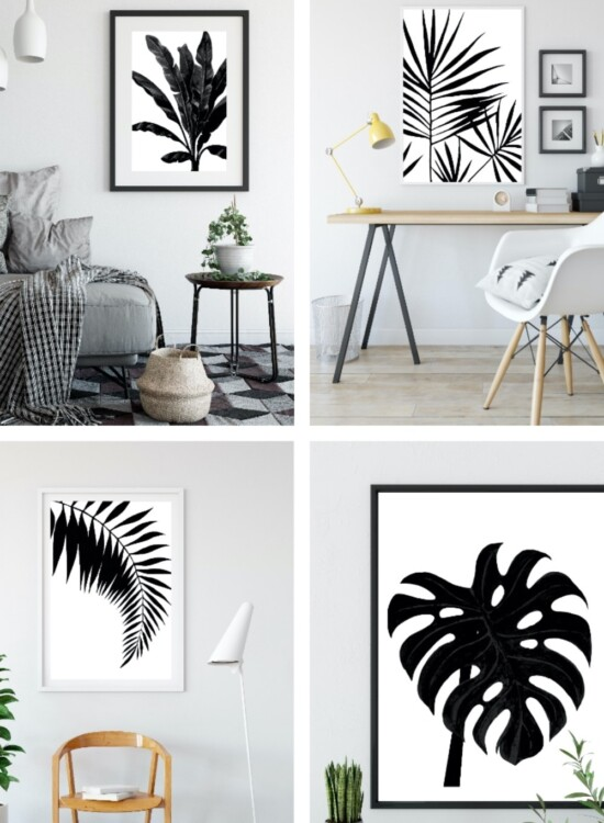 Black and White Palm Leaf Wall Art Printables 9