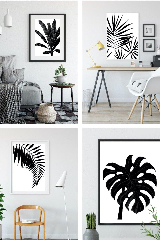 Black and White Palm Leaf Wall Art Printables