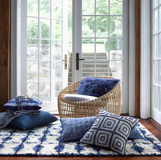 indigo blue, bohemian pillows, navy blue decor, rattan chair