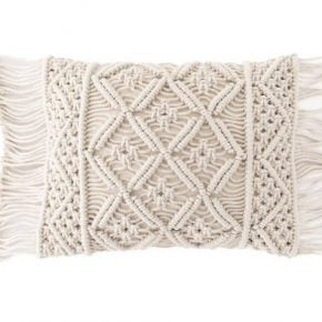 macrame pillow, fringe pillow