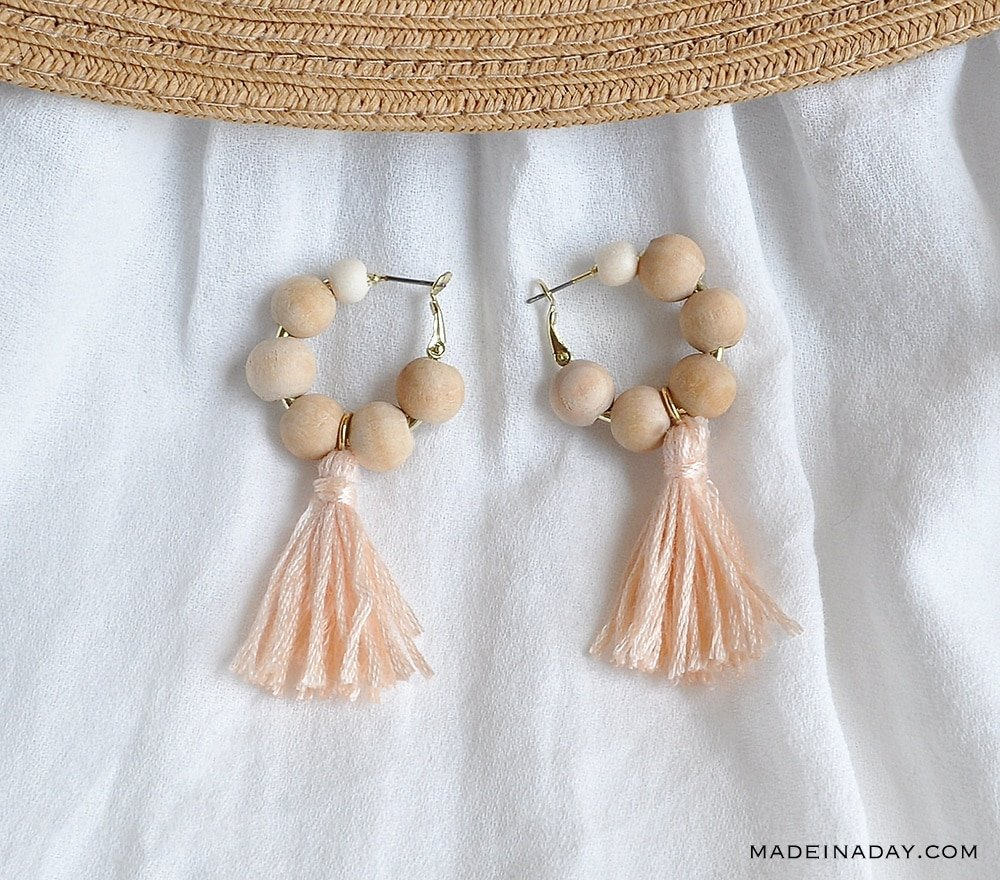 natural beads peach tassel earrings, handmade beaded earrings