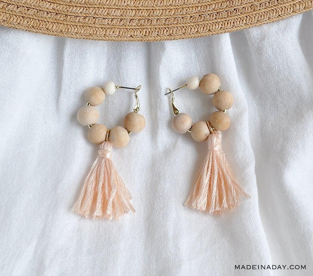 natural beads peach tassel earrings, handmade beaded earrings