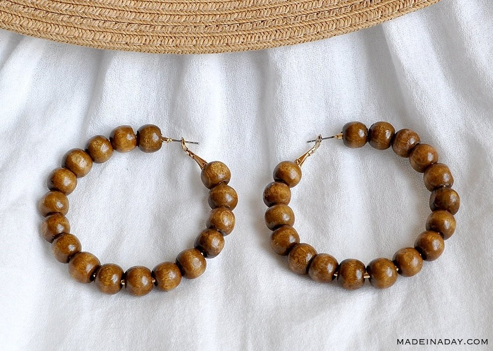 DIY Brown Wood Hoop Earrings, Beaded Hoops