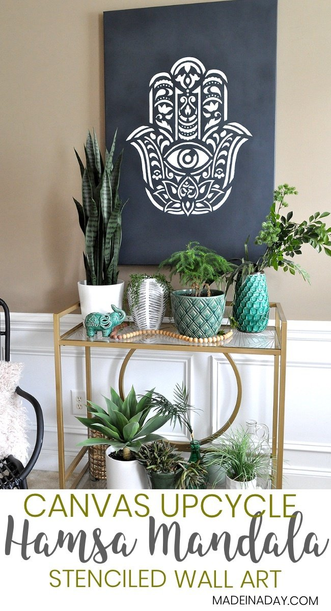 How To Make Hamsa Palm Mandala Wall Art Using A Stencil, Hamsa Hand Mandala,