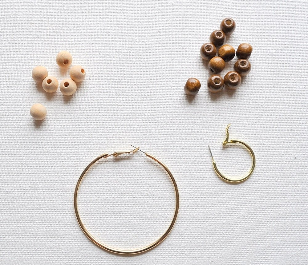 wood beads and gold hoops