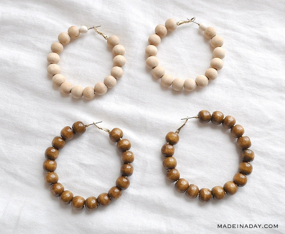 How to make Wood Beaded Hoop Earrings