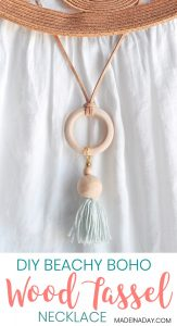 How to Make a Wood Bead Tassel Hoop Necklace 1