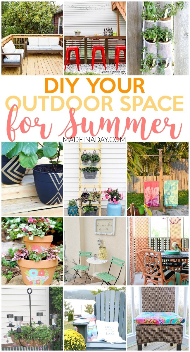 Amazing Projects to DIY Your Outdoor Space for Summer, DIY patio furniture, painted planters, her gardens, DIY towel rack, chandelier planter, Peach rattan, how to paint lawn furniture, beach towel cushions & drapes, Pallet bar and more! #Pallet #outdoor #patio #porch #decor #DIYHomeDecor #handmade #herbgarden #garden #beach #DIY