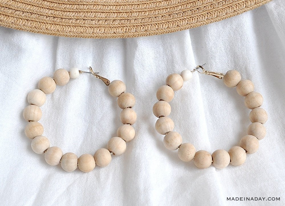 How to Make Your Own Wood Beaded Hoop Earrings
