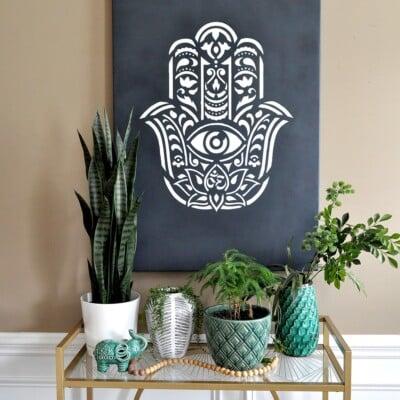 How to make Hamsa Palm Mandala Wall Art using a Stencil