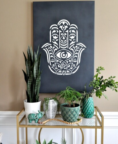 How to make Hamsa Palm Mandala Wall Art using a Stencil 42