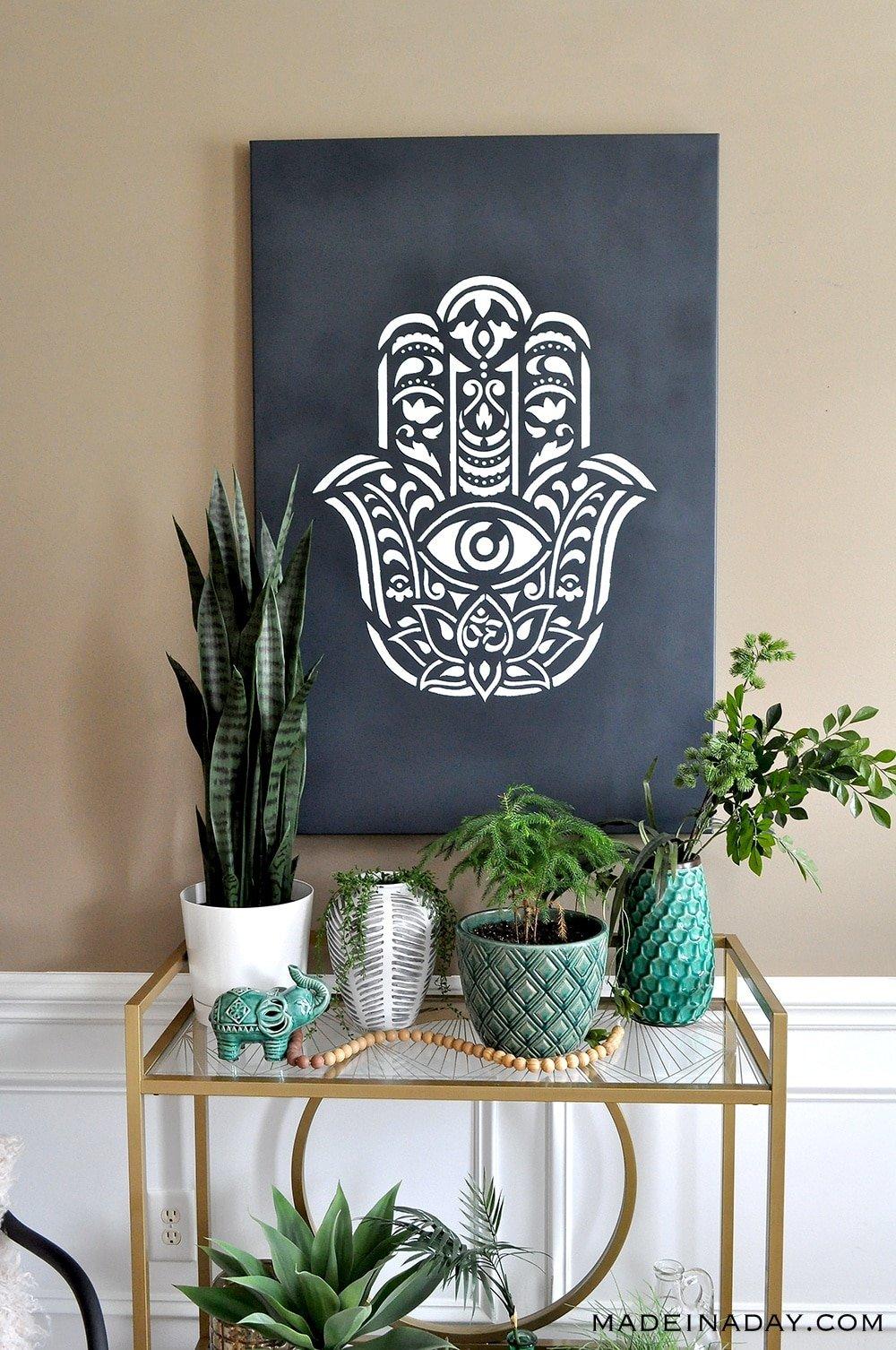 Hamsa Palm Stenciled Wall Art, Hamsa Design, Hand of Fatima