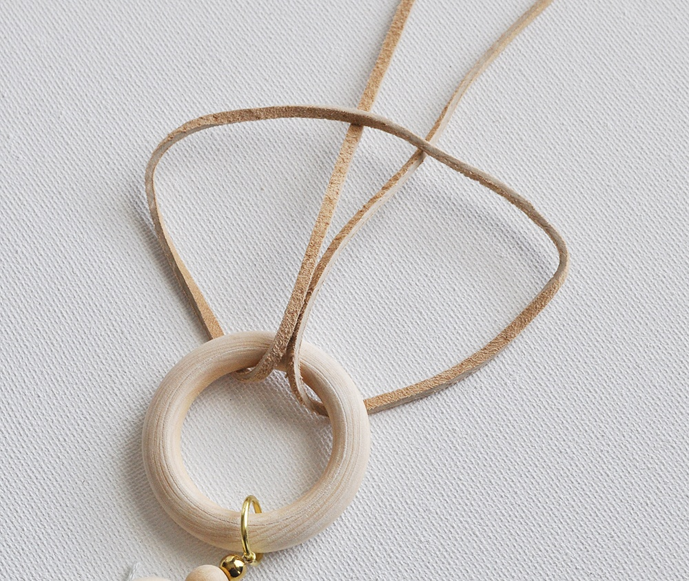 add a wood ring to a necklace, natural wood ring suede necklace