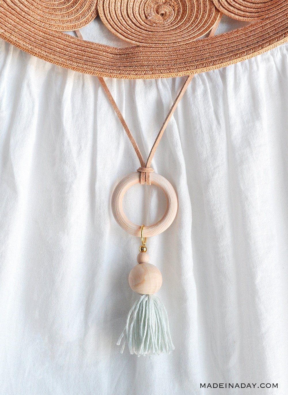 wood ring tassel necklace, wood bead tassel necklace, wood hoop ring tassel necklace