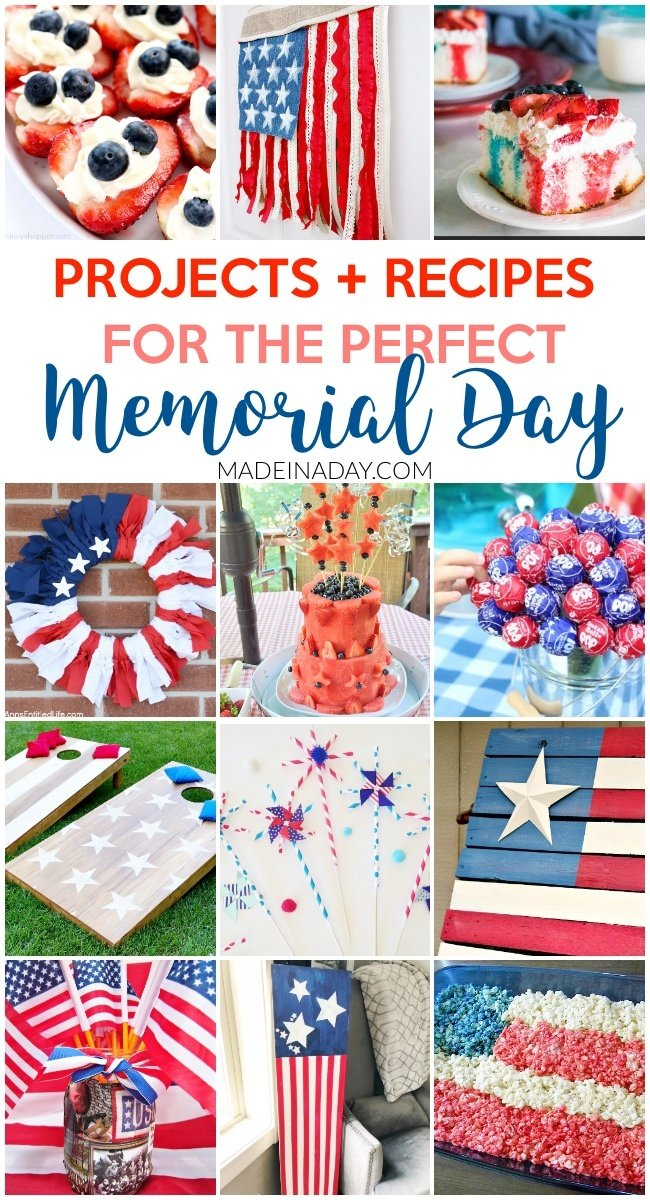 Throw the Best Memorial Day Party: Decor to Food, Cheesecake Strawberries, watermelon cake, jello poke cake, lollipop topiary, red white & blue wreath, pallet flag, cornhole board set tutorial, ribbon flag #patriotic #redwhiteblue #4thofjuly #memorialday #stars&stripes #flag