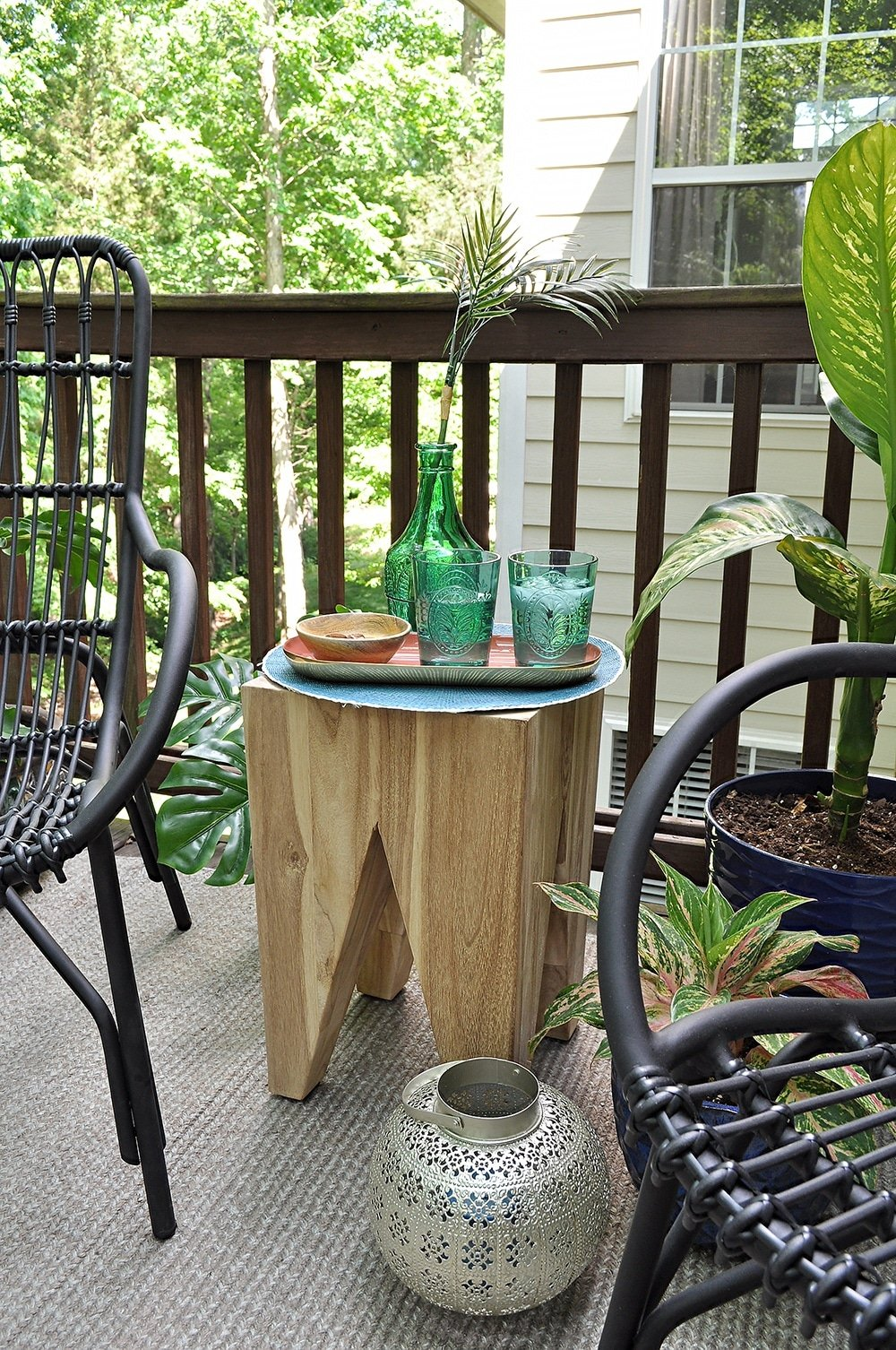 Wood Block Table, Tana Stool, Teakwood Outdoor table