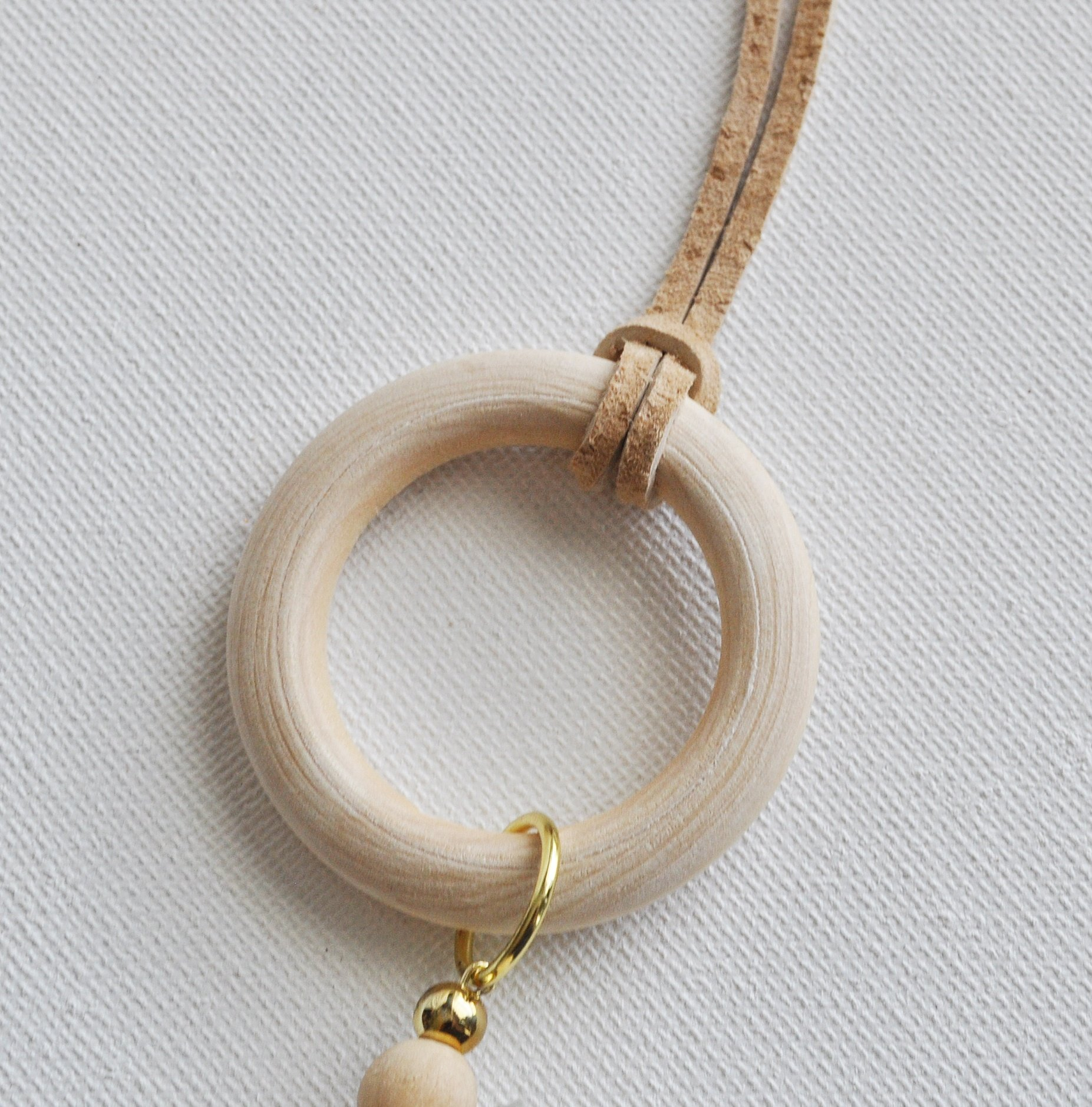 Tie Suede around wood ring, wood hoop circle necklace
