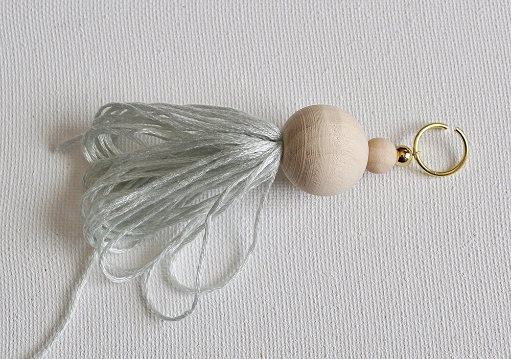 wood bead tassel, Natural Wood bead Tassel with embroidery floss, light green tassel