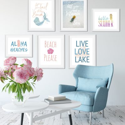 6 Summer Wall Art Printables: Mermaids to Pineapples
