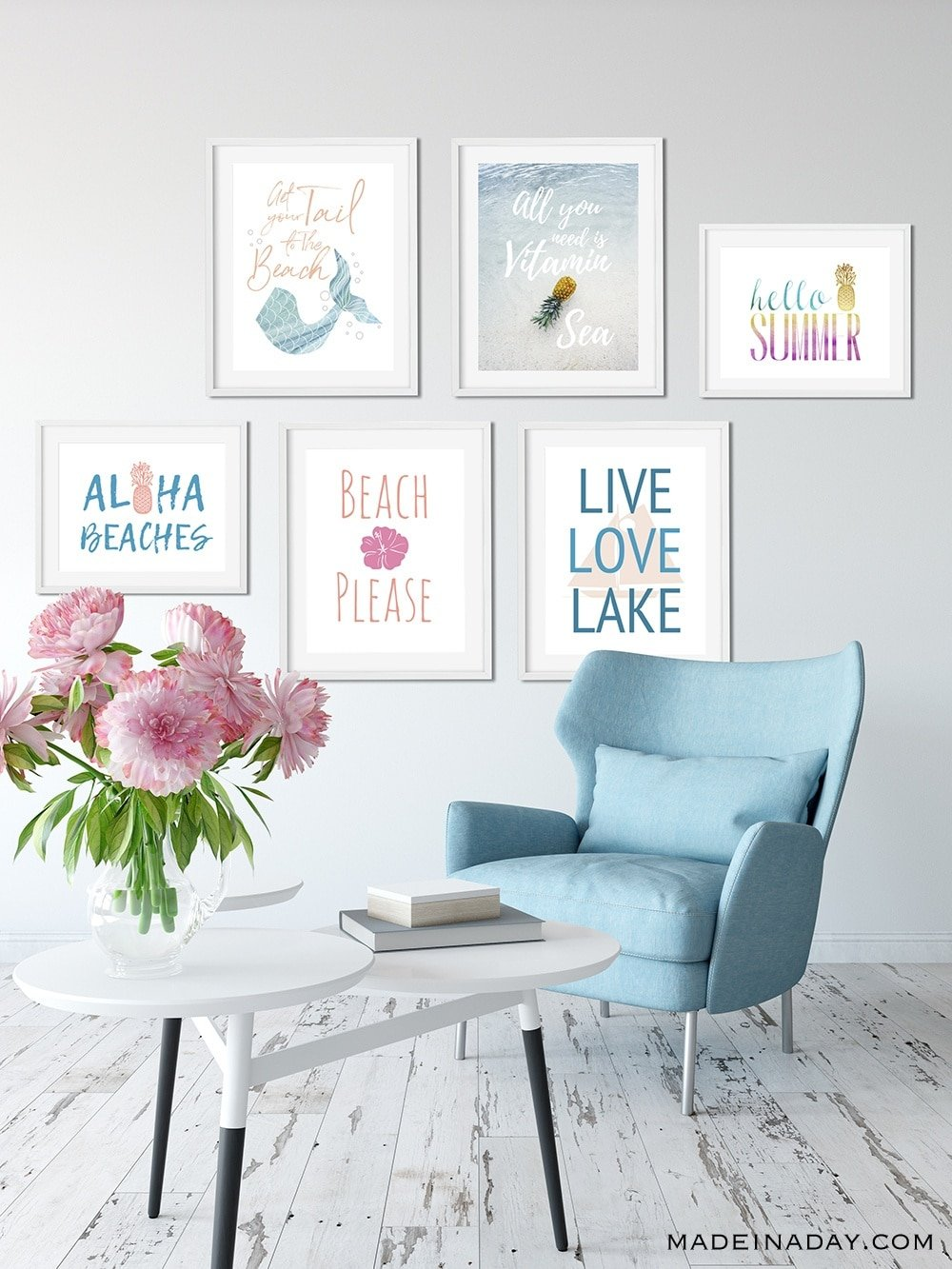 Summer Home Decor Printable Wall Art, beach please, Live Love Lake, Aloha Beaches, get your tail to the beach, all you need is vitamin Sea,