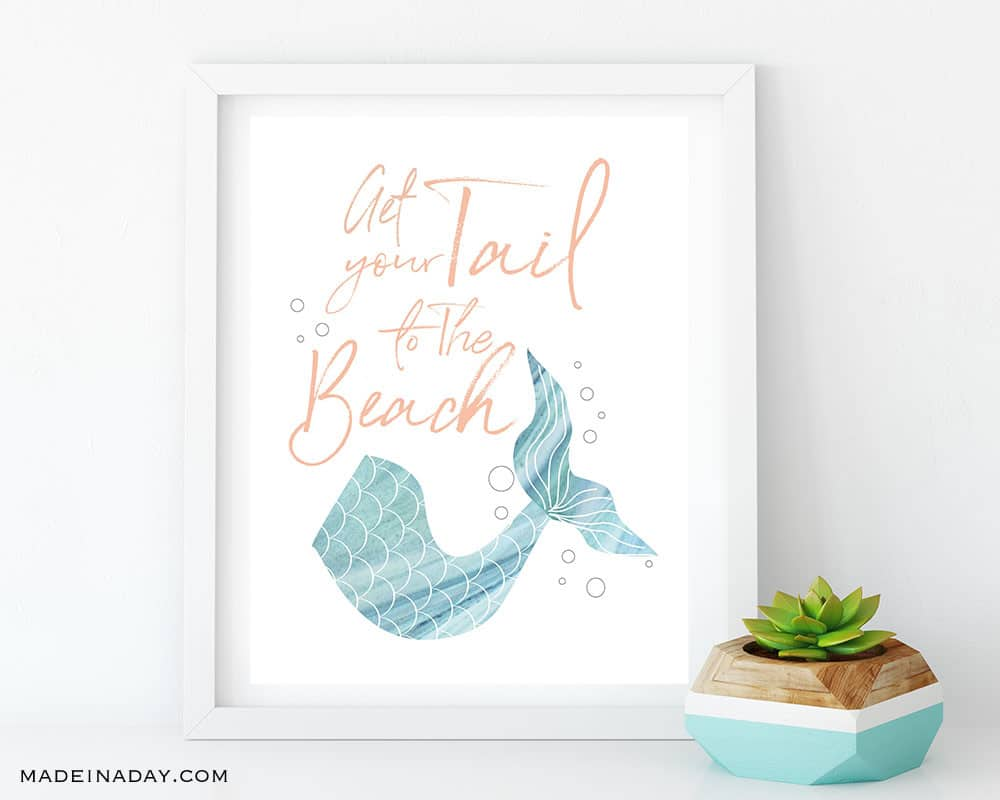 Get your Tail to the Beach Printable Wall Art, Mermaid Tail